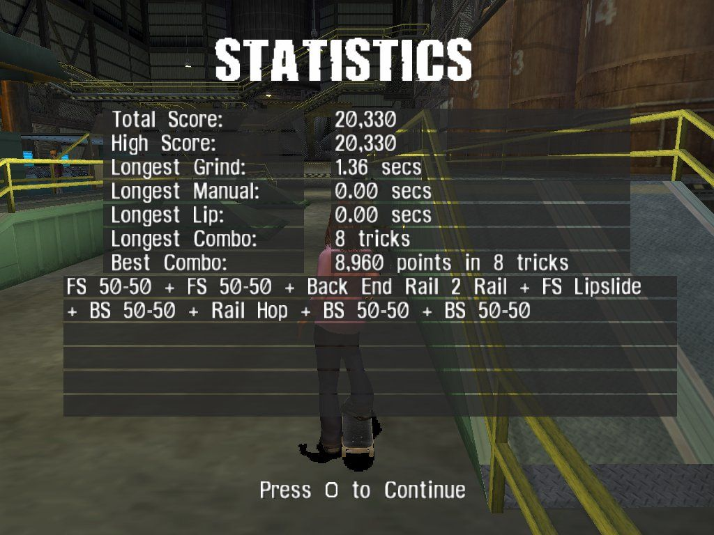 Tony Hawk's Pro Skater 3 Windows Stats, nothing but stats