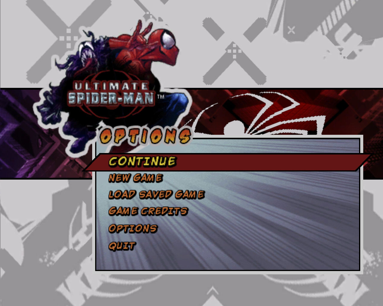 Ultimate Spider-Man Windows Main Menu