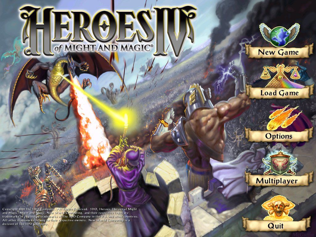 Heroes of Might and Magic IV Windows The main menu