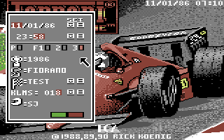 Ferrari Formula One Commodore 64 Main options