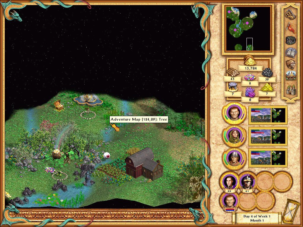 Heroes of Might and Magic IV Windows Taking a look through the magic eye