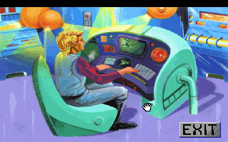 Space Quest I: Roger Wilco in the Sarien Encounter DOS Roger at the Arcada's central computer