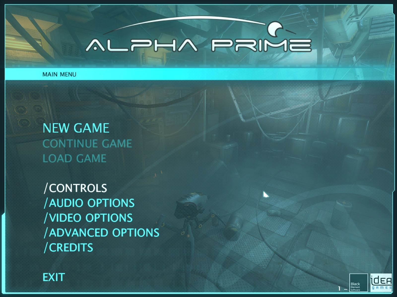 Alpha Prime Windows Main menu