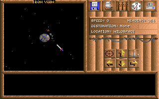 Spelljammer: Pirates of Realmspace DOS Game start - this is the main navigation screen. Currently overlooking an unknown planet.