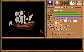 Spelljammer: Pirates of Realmspace DOS Ship Info - this screen provides information about your current vessel. Later in the game, you may acquire many other different ships.