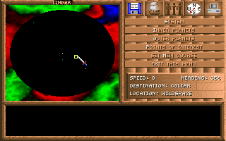 "Spelljammer: Pirates of Realmspace DOS Navigation Screen - here you can set a course to a designated planet or area of space, which you can use to ""spelljam"" or autopilot your ship to that destination."