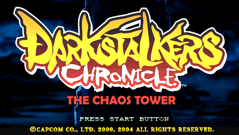 Darkstalkers Chronicle: The Chaos Tower PSP Title screen (European version)