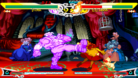 Darkstalkers Chronicle: The Chaos Tower PSP Victor taking a kick at B.B. Hood