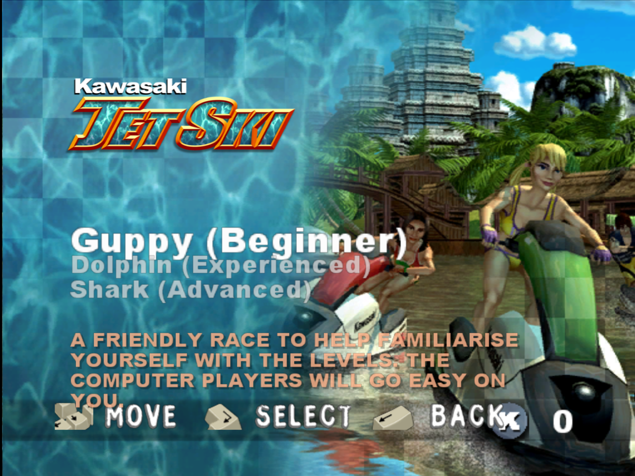 Kawasaki Jet Ski Windows Title screen / Level select