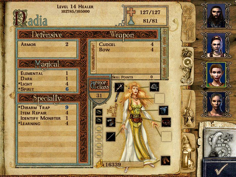 Might and Magic IX Windows Character screen