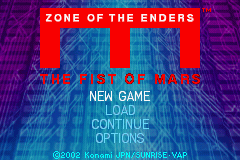 Zone of the Enders: The Fist of Mars Game Boy Advance Title screen