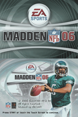 Madden NFL 06 Nintendo DS Title screen.