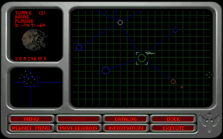 Wing Commander: Armada DOS Enemy is painted red.