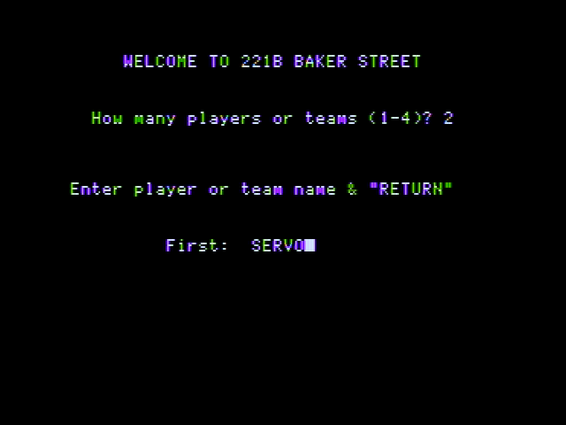 221 B Baker St. Apple II How many players? What are their names?