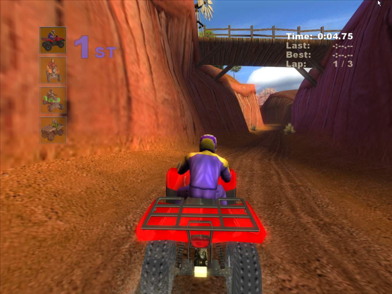 Kawasaki Quad Bikes Windows Going under the bridge in Red Rock. Unlike the other Kawasaki games released by Metro 3D , this one has lots of detail in the levels.