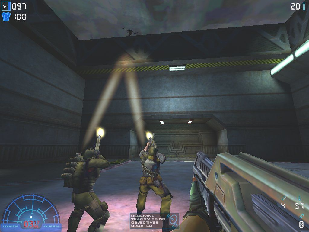 Aliens Versus Predator 2 Windows A pair of marines open fire on a sinister shadow on the roof...