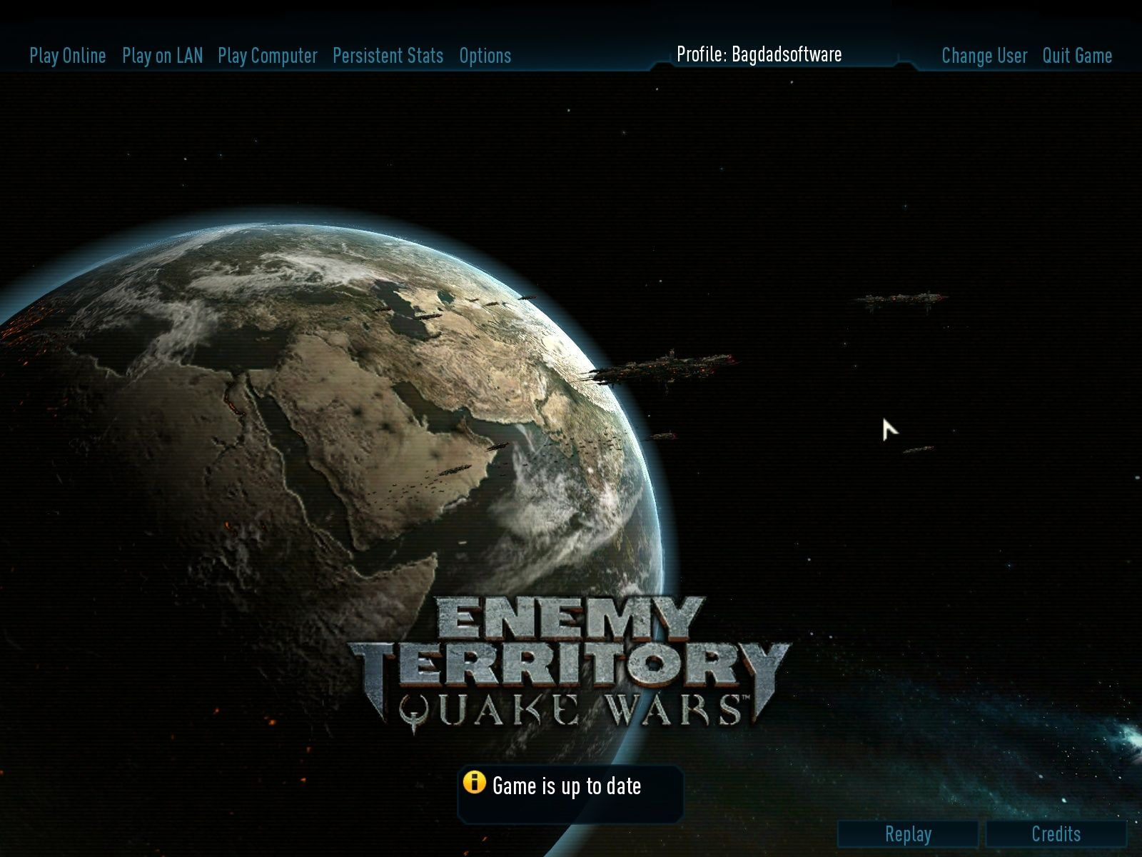 Enemy Territory: Quake Wars Windows Main Menu
