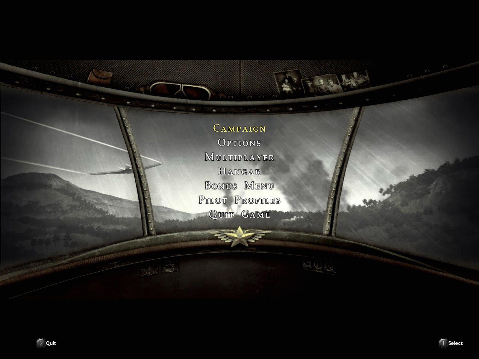 Blazing Angels 2: Secret Missions of WWII Windows Main menu