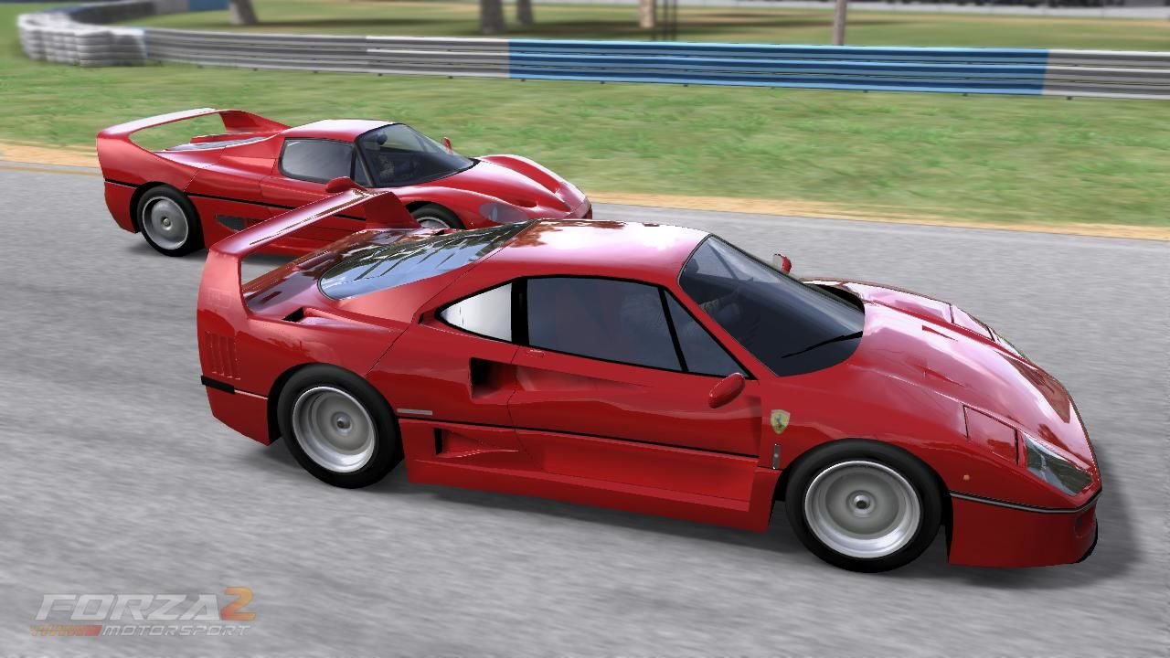Forza Motorsport 2 Xbox 360 Ferrari F40 and F50 on the race track.