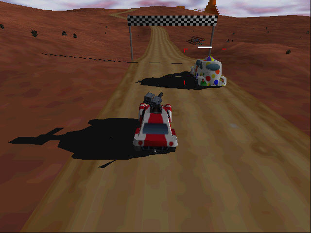 Interstate '76: Nitro Pack Windows Racing against Drinky the Clown at the Thrill O'Rama race track (D3D)