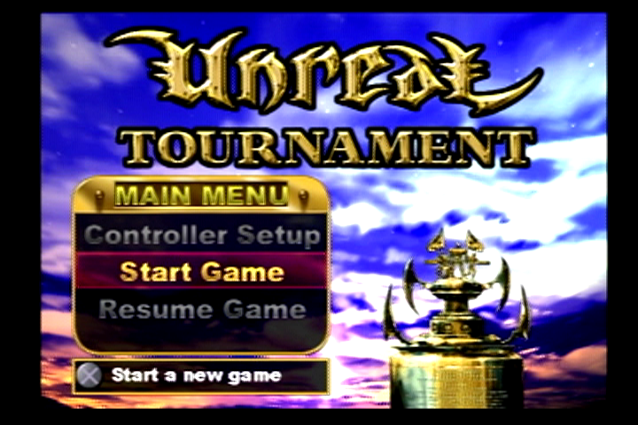 Unreal Tournament PlayStation 2 Main Menu