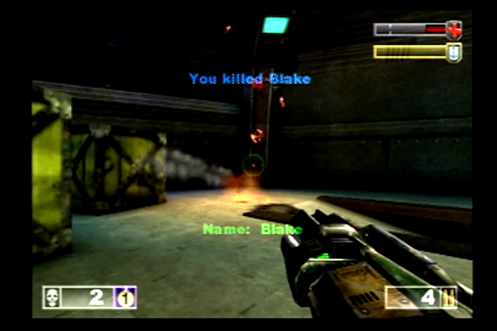 Unreal Tournament PlayStation 2 Blake was blown to pieces with the help of a rocket launcher.