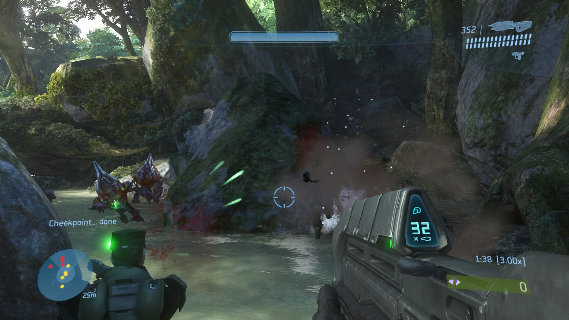 Halo 3 Xbox 360 My NPC buddy is helping me against those grunts.