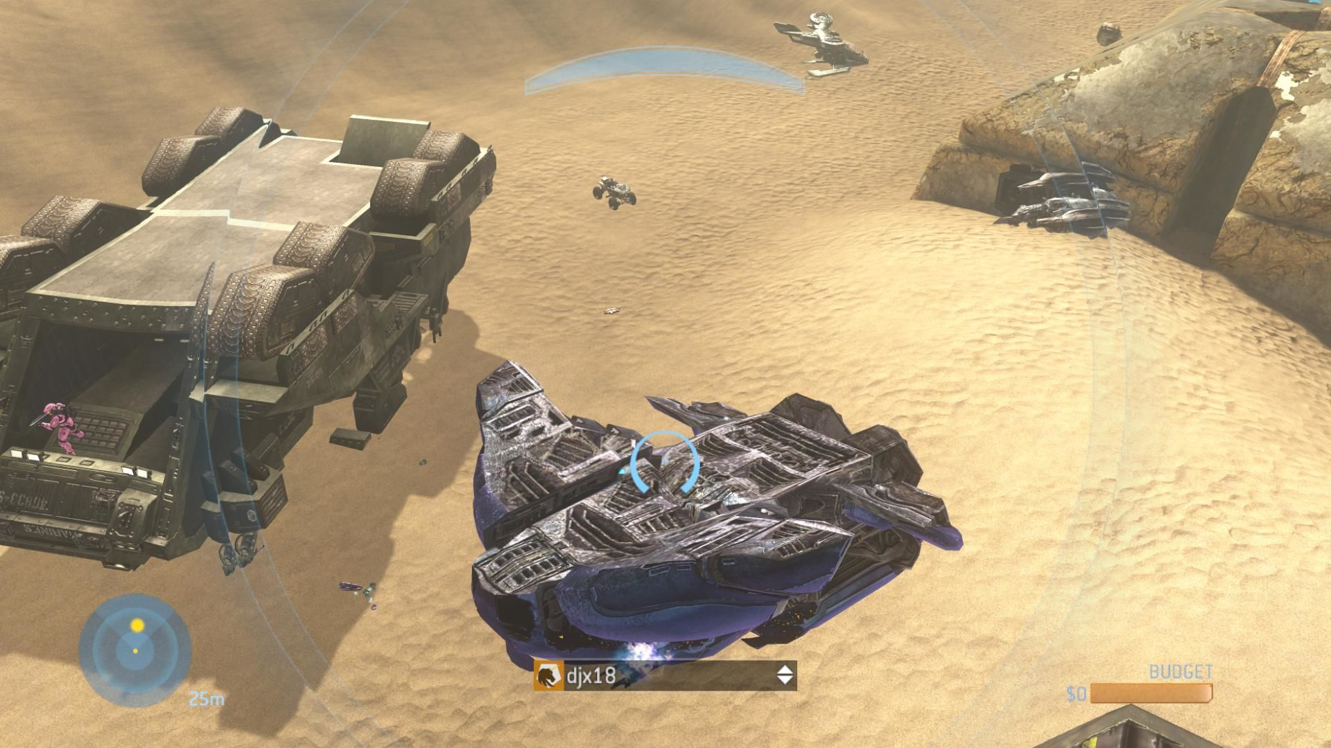 Halo 3 Xbox 360 Pulling a Wraith out from under an upside-down Elephant in a Forge game. The Wraith doesn't normally appear in Sandtrap, nor does the Hornet, which can be seen a little way off. They were placed there