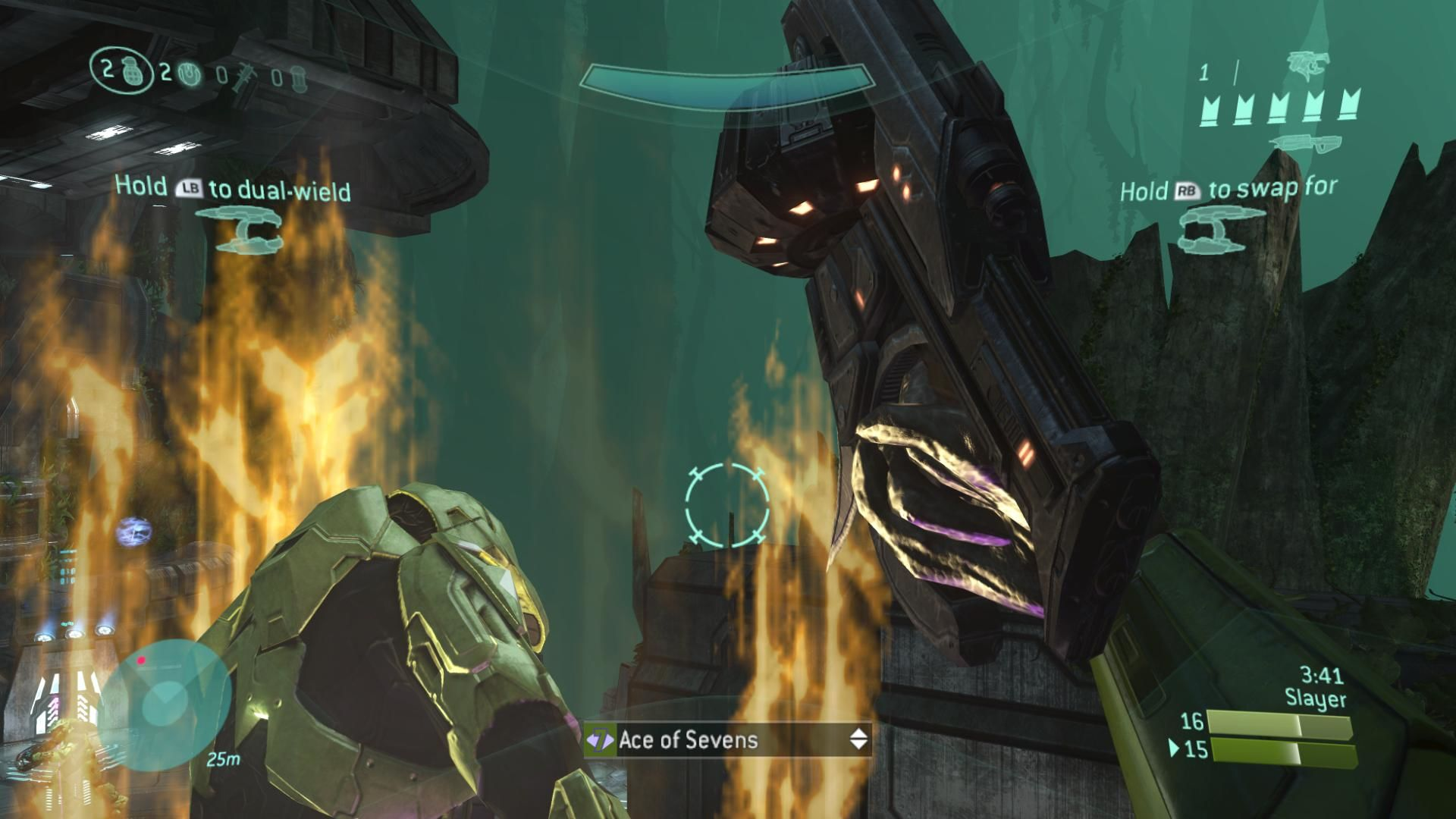 Halo 3 Xbox 360 The aftermath of a melee attack to the back using the new Mauler on Guardian.