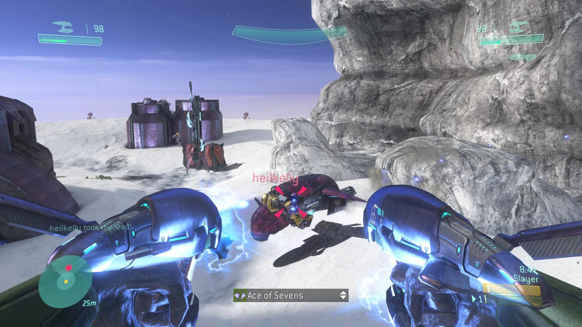 Halo 3 Xbox 360 Double plasma pistols take down a Ghost on Snowbound.
