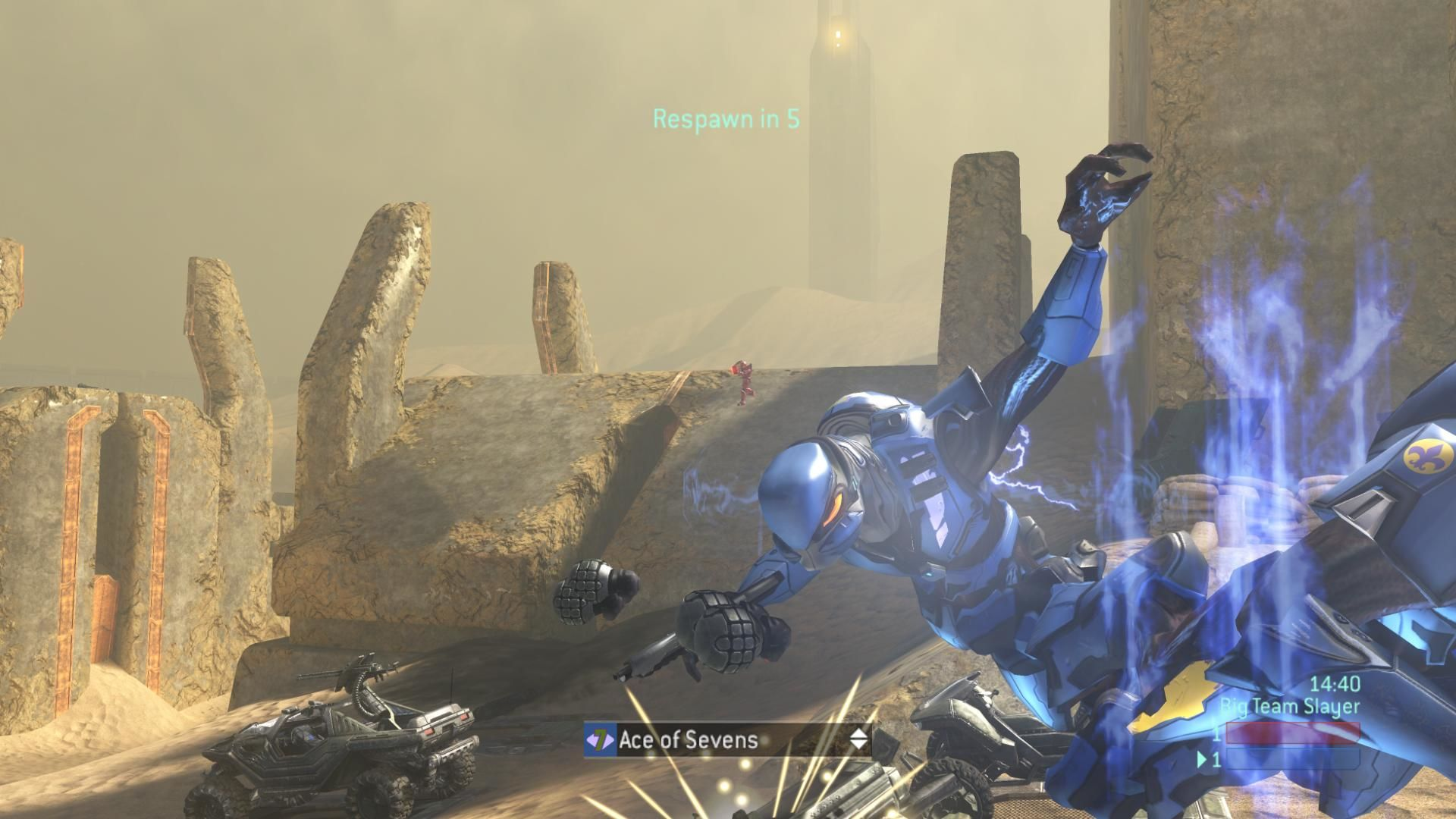 Halo 3 Xbox 360 Red there just lasered the player's warthog, killing both occupants. Note the unlockable variant helmet.