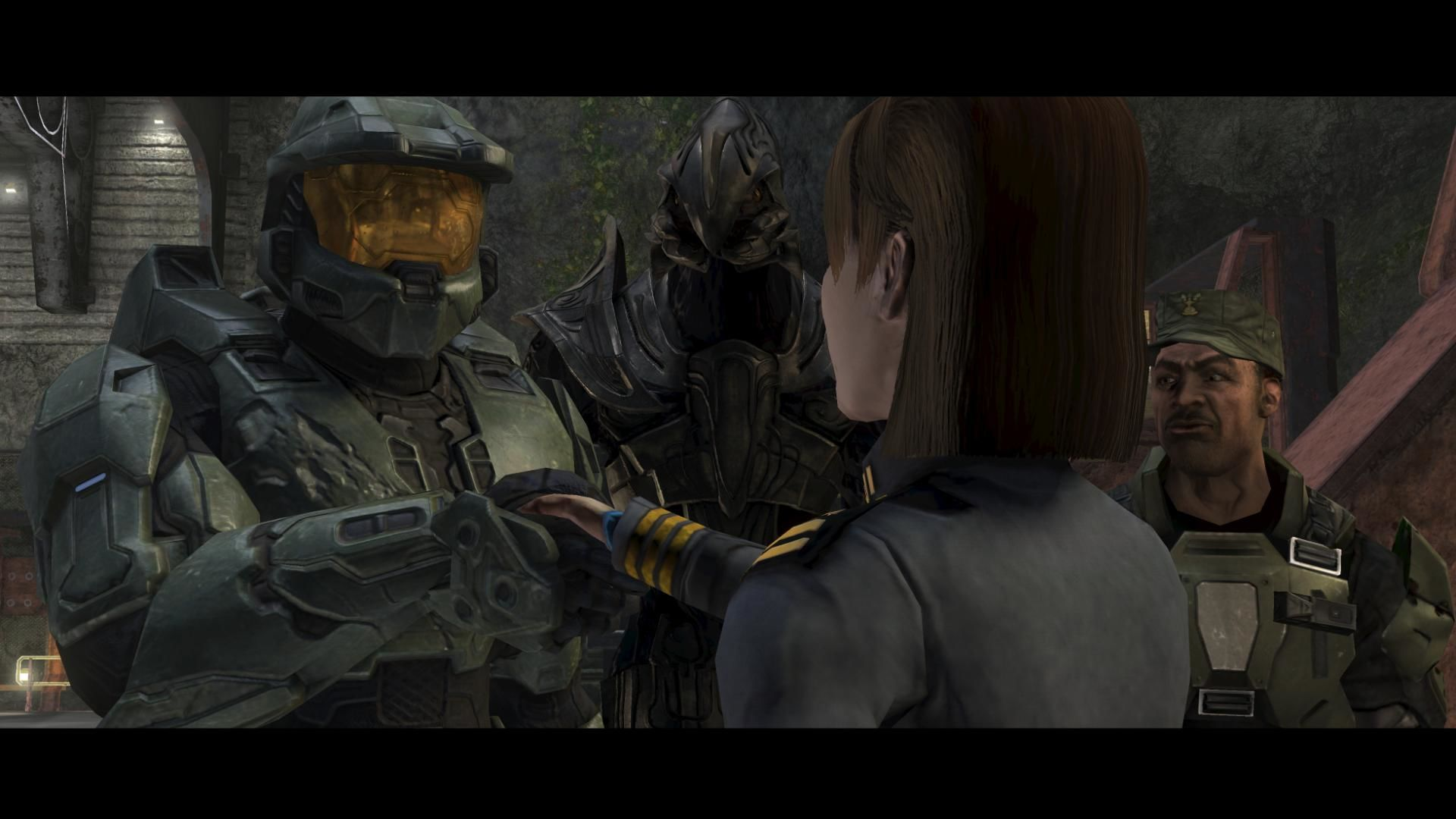 Halo 3 Xbox 360 Cast shot from a cutscene in campaign. From left to right: Master Chief Spartan 117, the Arbiter, Commander Miranda Keyes and Sergeant Alvin Johnson.