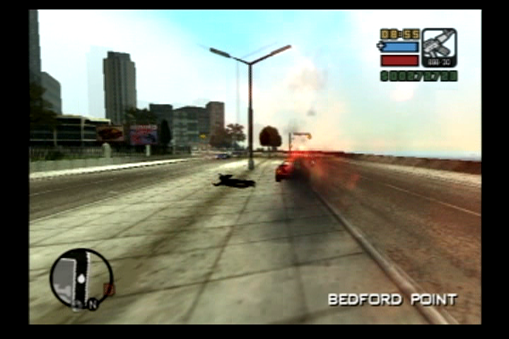 Grand Theft Auto: Liberty City Stories PlayStation 2 It is probably a good idea to roll out of a vehicle that is up in flames.