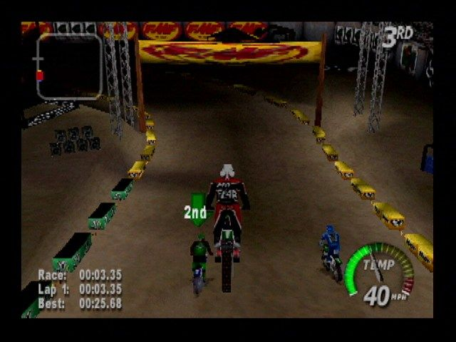 Excitebike 64 Nintendo 64 A big jump on a stadium track