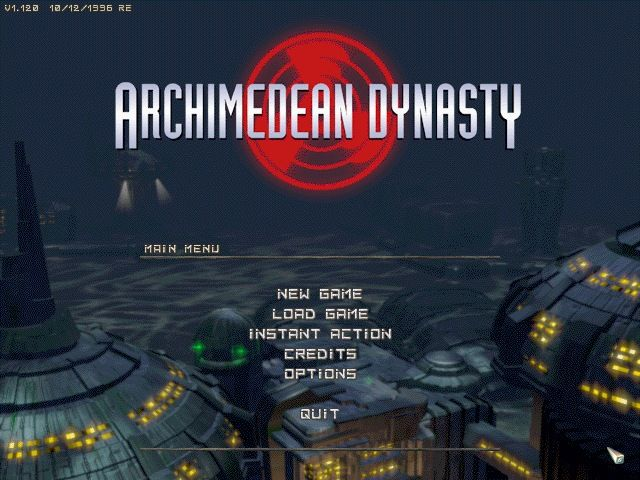 Archimedean Dynasty DOS Main menu