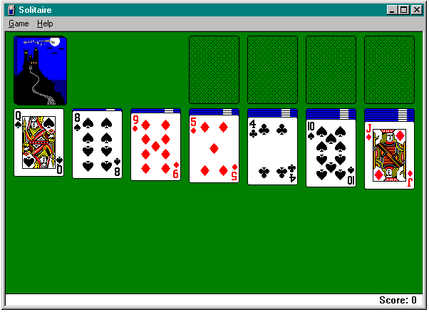 Microsoft Solitaire Windows Playing alone again.*sigh* (Windows ME)