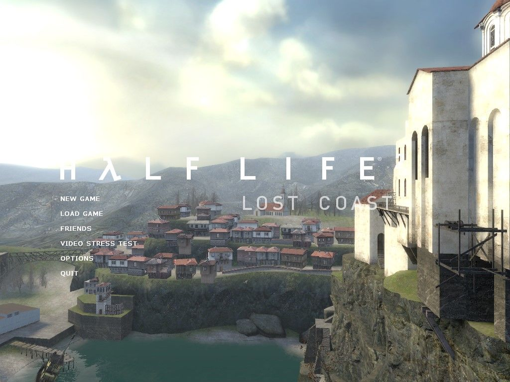 Half-Life 2: Lost Coast Windows Main menu. Like any other HL2 title, you get a background showing the level.