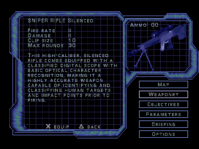 Syphon Filter 3 PlayStation Weaponry description