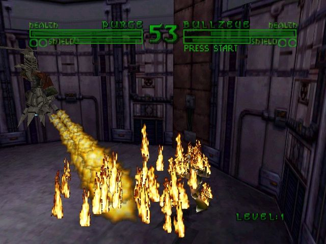 Bio FREAKS Nintendo 64 Purge using Flame Pillars on Bullzeye.