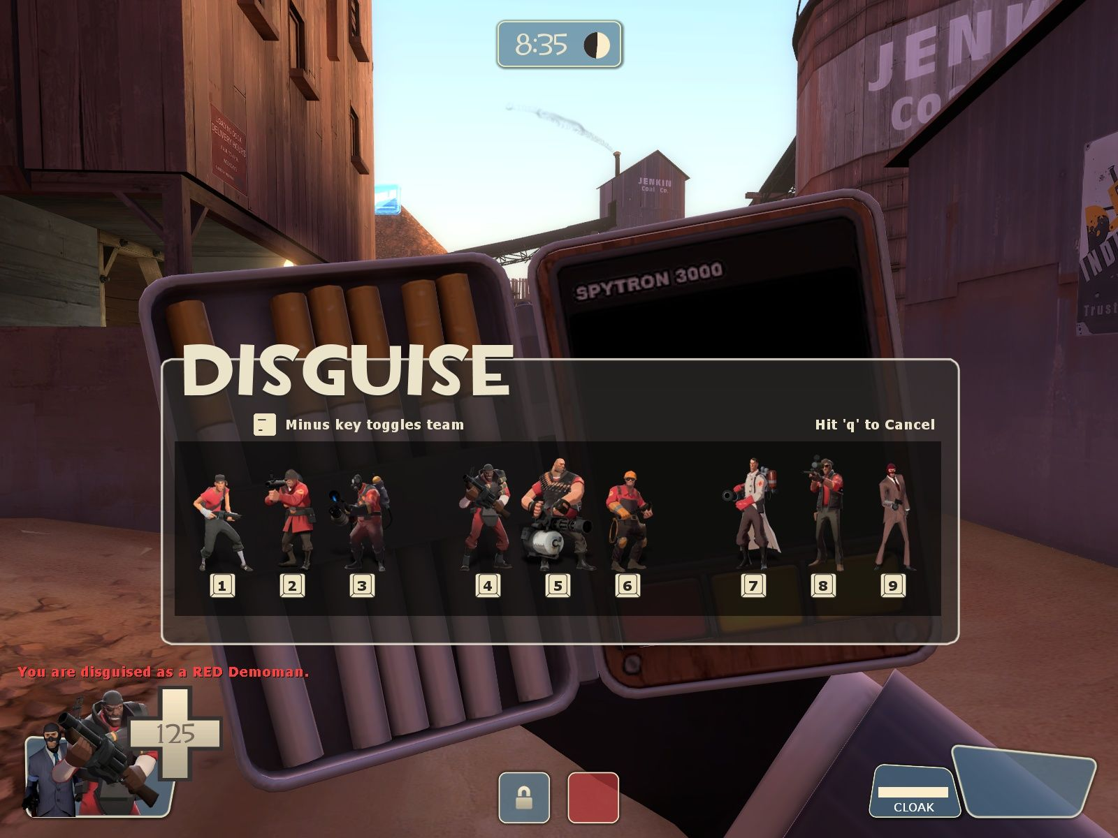 Team Fortress 2 Windows Choosing my disguise as a Spy.