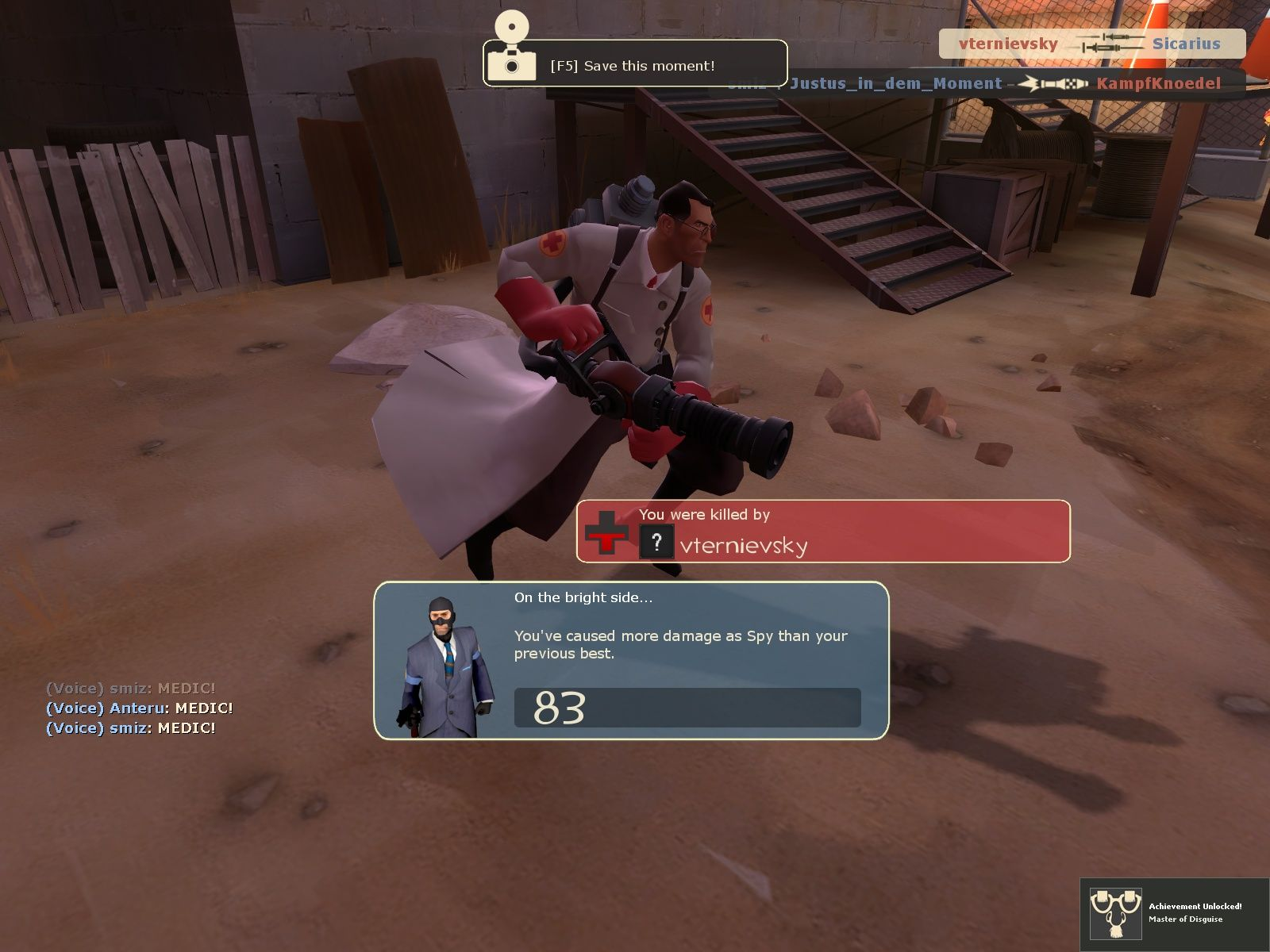 Team Fortress 2 Windows Killed by a Medic - how low...
