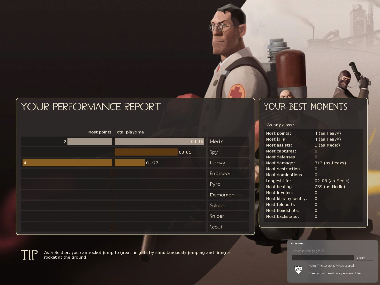 Team Fortress 2 Windows The performance report you get at the end of every map.