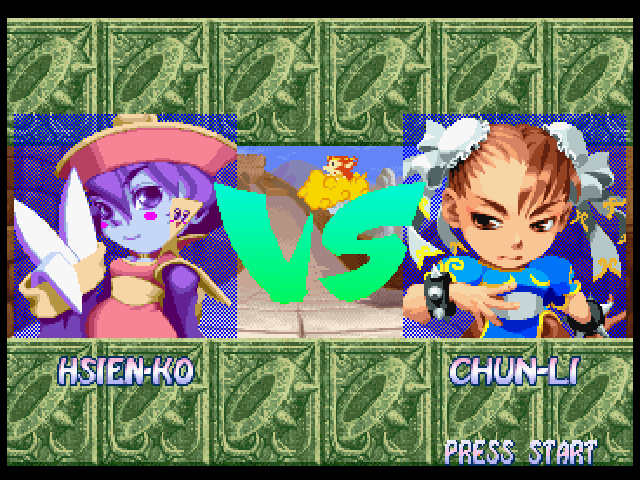 Super Puzzle Fighter II Turbo PlayStation Hsien-Ko vs Chun-Li