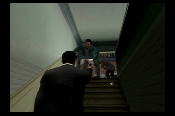 The Getaway PlayStation 2 Mark is slow going up stairs, so enemies are always ready to attack before you get to the top.