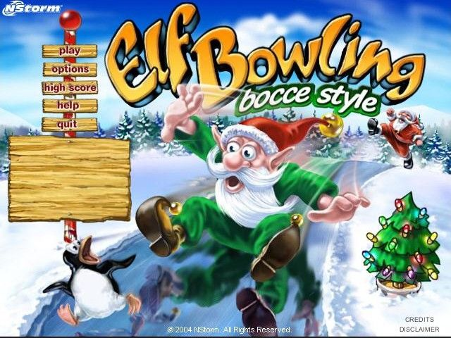 Elf Bowling: Bocce Style Windows Title screen and main menu