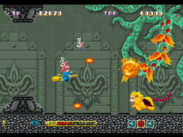 Fantastic Night Dreams: Cotton PlayStation Fighting with two fairies.