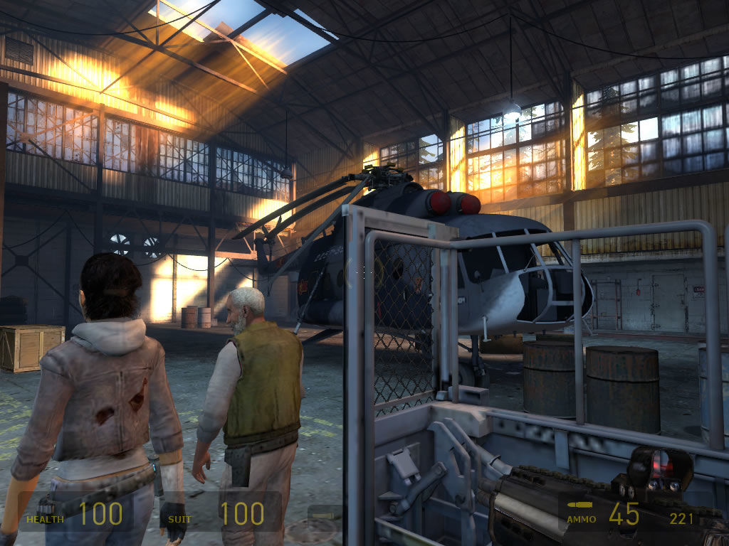 Half-Life 2: Episode Two Windows Inside a hangar, moving to the helicopter.