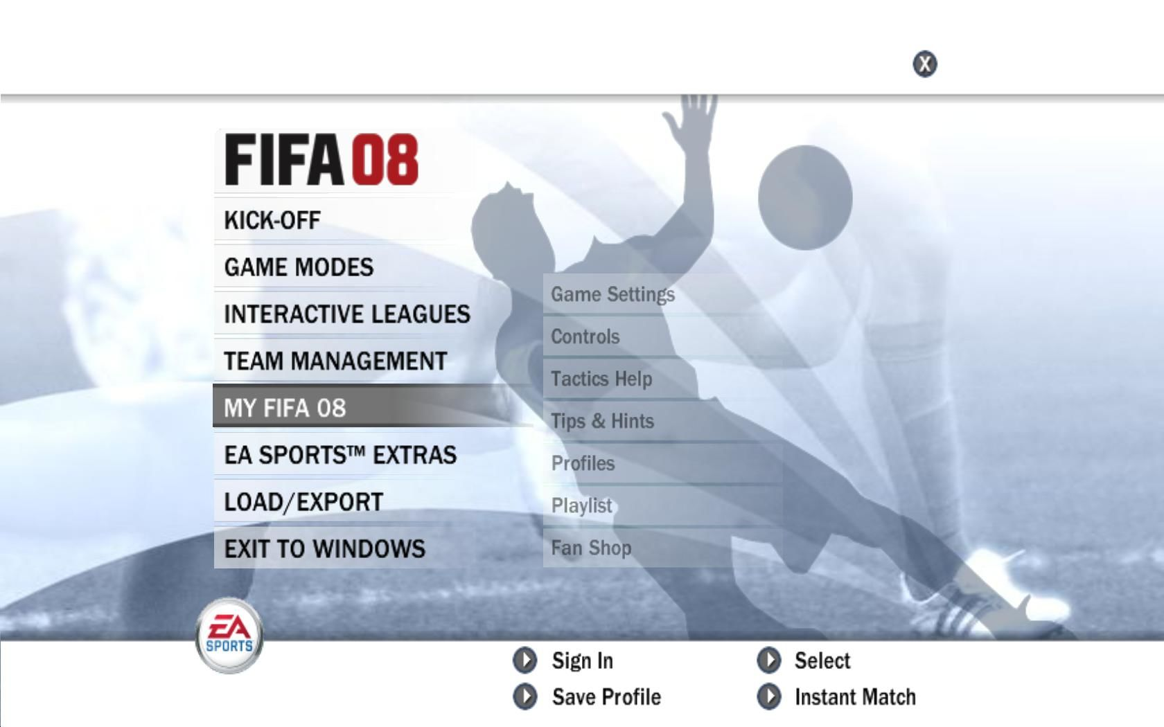 FIFA Soccer 08 Windows Main Menu