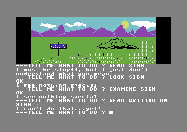 Scott Adams' Graphic Adventure #1: Adventureland Commodore 64 I just want to read that bloody sign