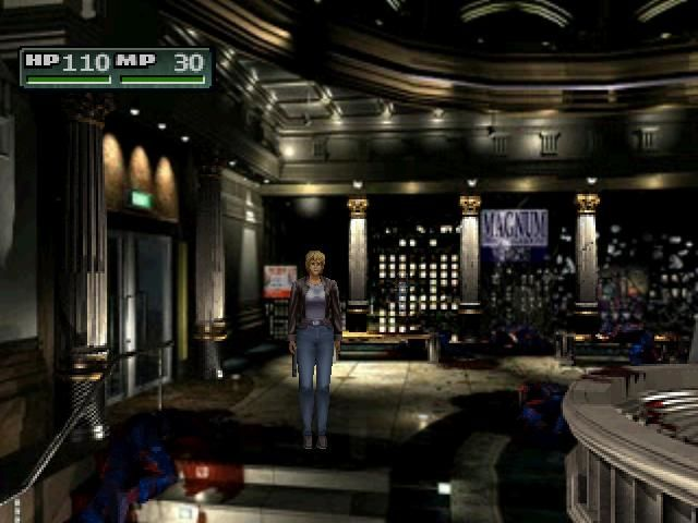Parasite Eve II PlayStation Aya in the lobby full with corpses